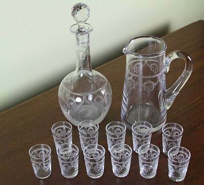 Charming Vodka Set Decanter, Jug & 11 Vodka Tiny Glass