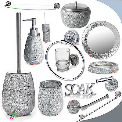 Silver sparkle bathroom accessory set silver mosaic for Crackle glass bathroom accessories