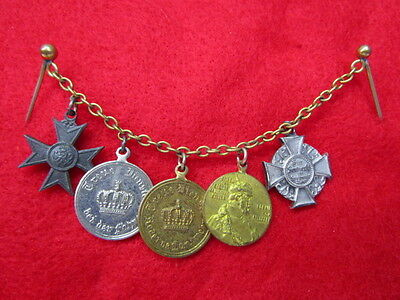 WWI German Mini Medals on Chain / 5 Tuxedo Style Medals ~ BEAUTIES!!