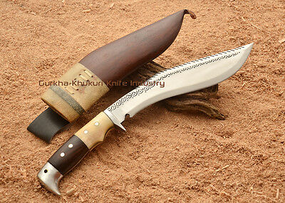"Genuine 10"" Dragon Eagle Wood Bone Gaswa Handle Gurkha Khukuri Kukri Knife Nepal"