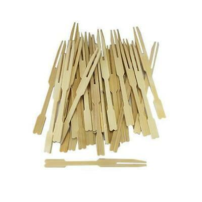 100 x Disposable Bamboo Mini Fork / Pick, 90mm, Catering, Functions, Parties