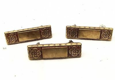 Antique Brass C&A Hardware Ornate Cabinet Drawer Pull Handle Floral Lot of 3