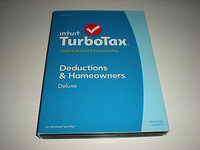 Turbotax 2014 Deluxe. Federal only + Federal E-file. New in sealed box.