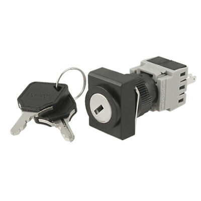 AC 250V 5A Two 2 Position Key Lock Rotary Selector Select Switch 4 Solder Lug