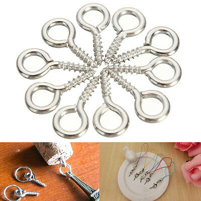 100x 12mm Screw Eye Pins Silver Plated Steel Clasp Hook For Jewelry Findings New