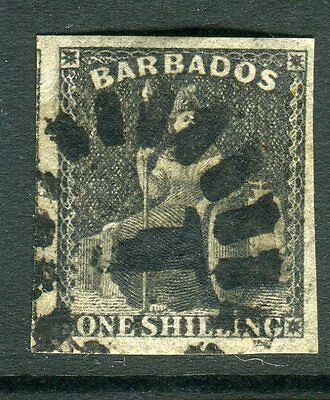 BARBADOS-1858 1/- Black.  A fine used example Sg 12a