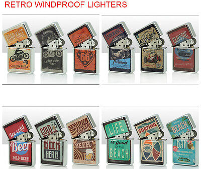 Retro Collectable Steel Windproof Cigarette Lighters Petrol - Assorted Designs