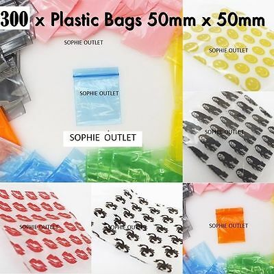 300 Small Plastic Bags Self Seal Resealable Clear Baggy Jewellery Bag 5cm x 5cm