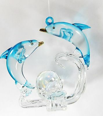 Coastal Beach Tropical Dolphins in the surf Ornament Hand Made Glass