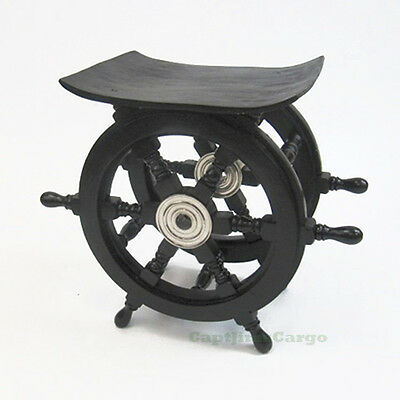 "Black Ships Steering Wheel 15"" Wooden End Table Nautical Pirate Boat Decor"