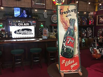 """Original 7up """"it likes you"""" Tin Embossed Advertising Sign 13 x 40"""