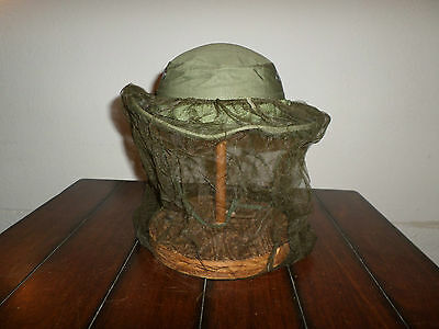 U.s Military Vietnam Boonie Jungle Hat With Insect Mosquito Net Od Green 1969