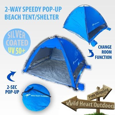 BEACH Shelter Tent Speedy Pop Up Dome UV PROOF Silver Coated Camping SUN SHADE