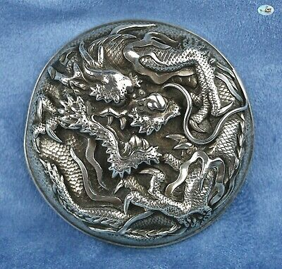 Antique 1900s Asian Chinese Silver Top Cover with Multiple Golden Dragons Claws