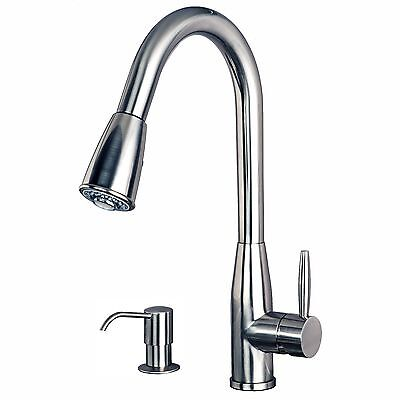 """Contemporary 16"""" Pull-Down Spray Kitchen Sink Faucet Soap Dispenser S.S. Finish"""