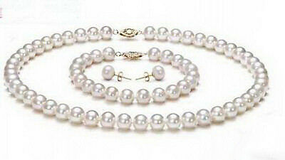 8mm Natural White South Sea Shell Pearl Necklace Bracelet Earrings Jewelry Set