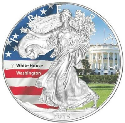 1 x 1 oz silver coin - 2015 American Eagle - coloured - USA White House