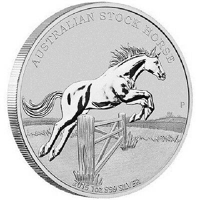 1 oz 999 Silver Coin - 2015 Australian $1 Stock Horse - Perth Mint