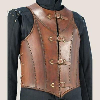 MEDIEVAL FANTASY GOTHIC Mens Brown Black Leather BREAST BACK BODY ARMOR LARP SCA