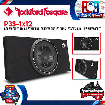 "Rockford Fosgate P3S-1X12 400W Rms 12"" Shallow Loaded Enclosure Subwoofer Box"