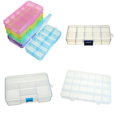 Plastic Craft Beads Jewellery Storage Organiser Compartment Container Box Case