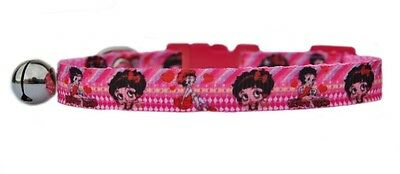 "Pink ""Betty Boop ""  safety kitten cat collar 3 sizes"