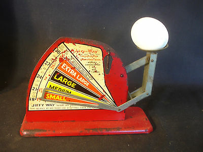 Old Vtg Metal Jiffy Way Inc Owatonna Minn Weighing Weight Egg Scale Wood Egg