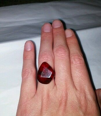 Vintage Natural Dominican Amber Ring Handmade Reddish Colored Size 6.5