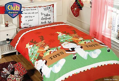 Father Christmas, Santa Claus & Reindeers Double Duvet / Quilt Cover Set