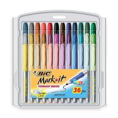 BIC Mark-It Permanent Marker, Fine Point, Assorted Colors, 36-Count