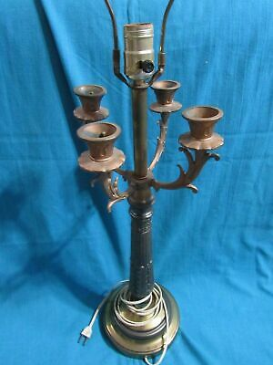 "Antique look electric table lamp with candle holders Unique 33"" high     RARE"
