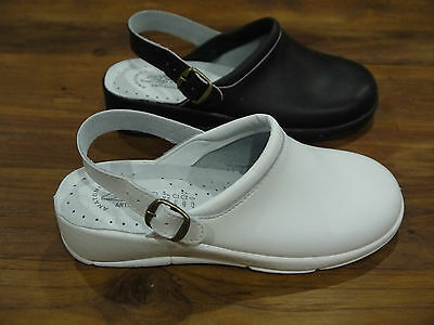 Ladies Leather Nurse Hospital Kitchen Back Strap Mule Clog Made In Italy 3-9