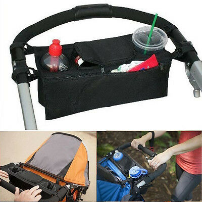 Baby Pushchair Stroller Safe Console Tray Pram Hang Black Bag Bottle Holder Bag