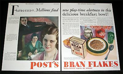 1930 Old Magazine Print Ad, Post Bran Flakes, In This Delicious Breakfast Bowl!