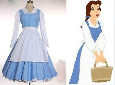 Princess Belle Costume Beauty and The Beast Maid Outfit Dress Cosplay