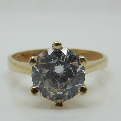 Stunning 14ct Yellow Gold Stone Set Solitaire Engagement Ring ~ Size L 1/2
