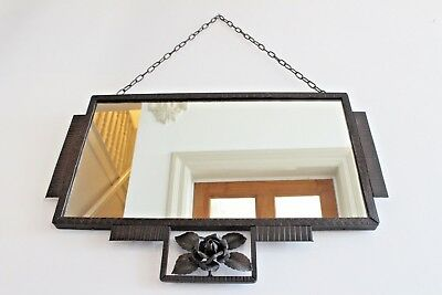 ART DECO Vintage MIRROR French LARGE Overmantel Stepped 1920s 30s Chain 67X44cm
