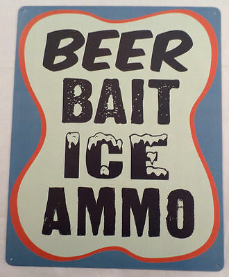 Beer Bait Ice And Ammo Rest Truck Stop Sign Man Cave Bar Metal Tin Sign