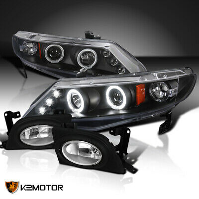 For 06-08 Civic 4Dr Black Halo LED Projector Headlights+Clear Fog Lamps