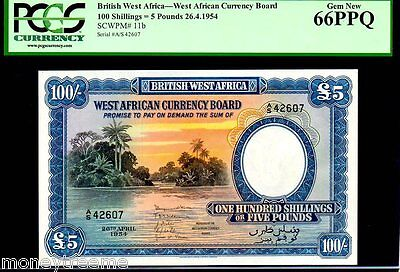 BRITISH WEST AFRICA P11b 5 Pounds 100 Shillings FINEST KNOWN PCGS 66PPQ !
