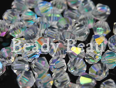 PACKS 4MM 6MM or 8MM QUALITY CLEAR AB GLASS CRYSTAL BICONES BEADS