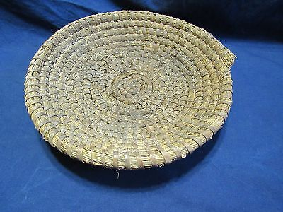 """Antique Coiled Grass Hand Made 13"""" Fanner Winnowing Type Basket Primitive"""