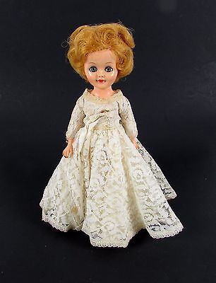 "Vintage 1960's Tagged Vogue 10"" Inch Doll w/ Wedding Lace Dress Satin Underneath"