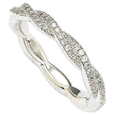 Sterling Silver Designer CZ Crossover Ring Cubic Zirconia Band