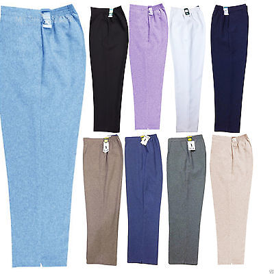 New Ladies Womens Half Elasticated Waist Work Office Trousers Pockets Pants Size