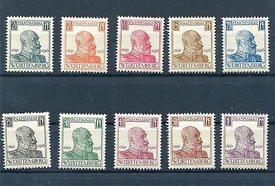 Germany Wurttemberg 1916 King Wilhelm Ii Set Scott O136-O145 Perfect Mnh