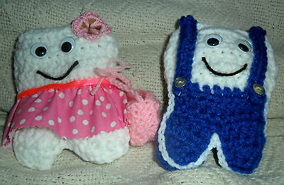 Handmade Crocheted Tooth Fairy Pillow Boy and Girl