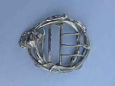 Beautiful Rare French Art Nouveau Silvered Metal Carnation Flowers Buckle !