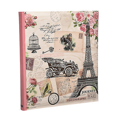 Large Pink Vintage  5' x 7'  Slip in with Memo Area For 120 Photos Album  - FL57