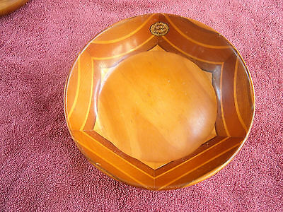 """Antique  """"sovereign"""" Crafted  Wood  Bowl  Using  Six  Different  N.z. Timbers"""